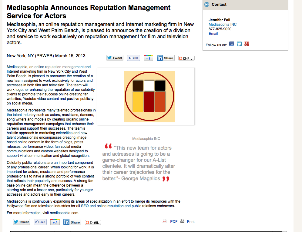 3-15-13 Mediasophia announces reputation management for actors